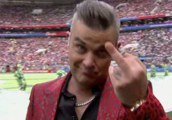 Robbie Williams Sticks Middle Finger Up At World Cup Opening Ceremony