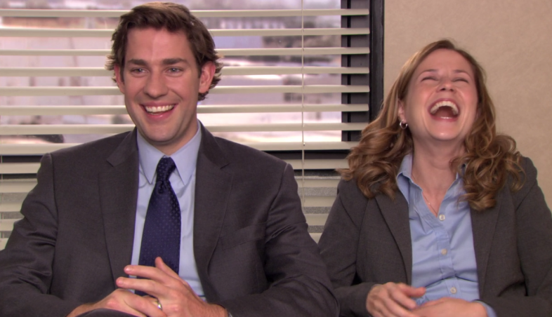 Jim and Pam in The Office, John Krasinski and Jenna Fischer