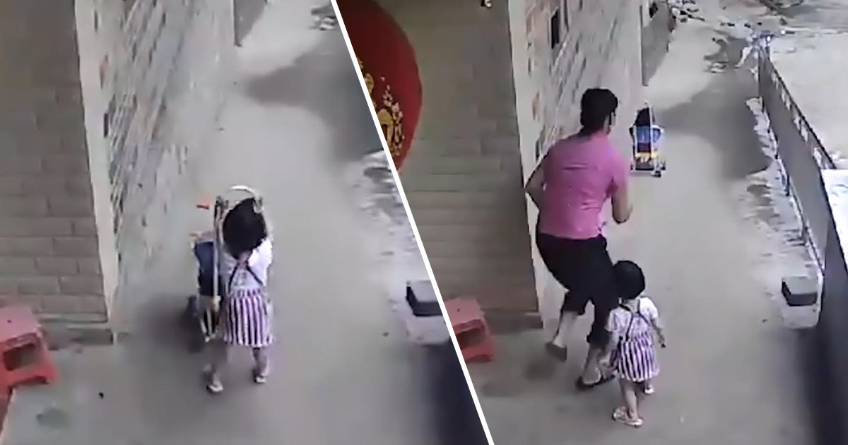 Girl Lets Go Of Stroller And Sends It Hurtling Down Hill strollerASIAWIRE3