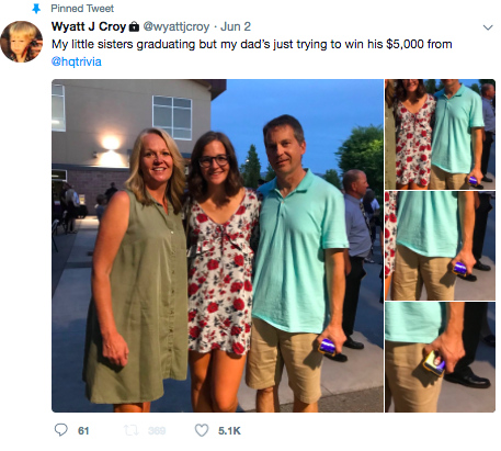 Tweet of Dad playing HQ Trivia at graduation