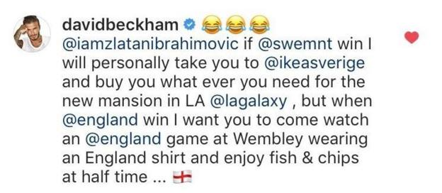 beckham responds to zlatan