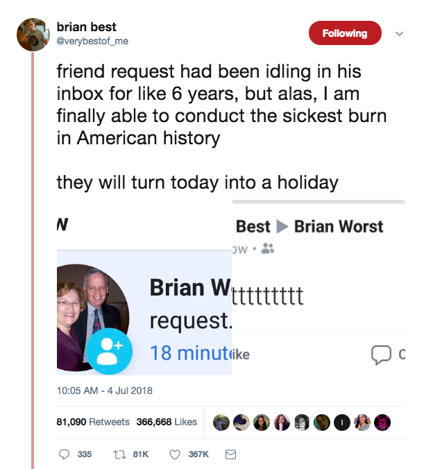 Guy Trolls Man On Facebook With Opposite Name To Him BRIAN BEST TWEET