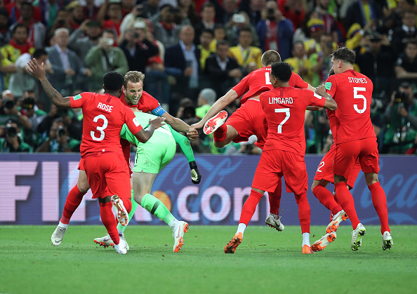 England celebrating victory over Colombia