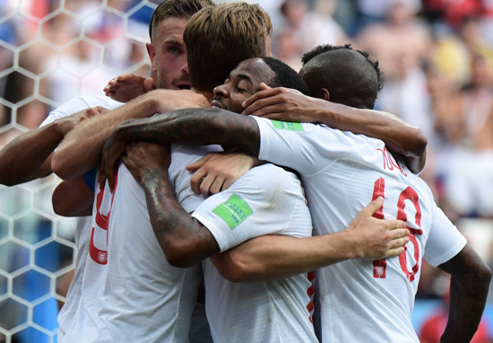 England team hugging