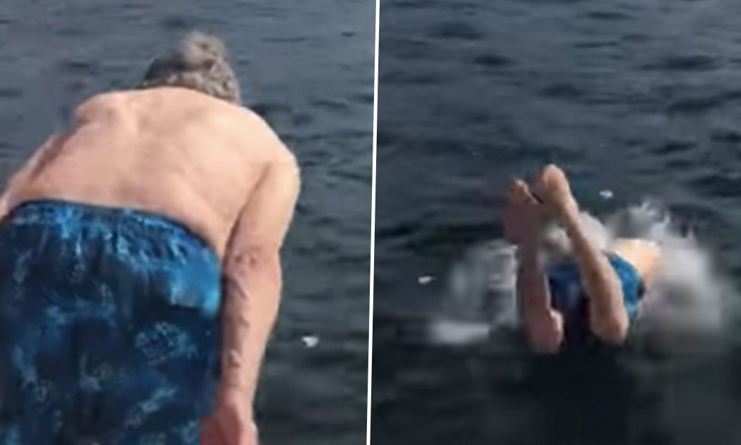 102-year-old grandad diving into sea