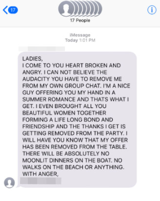 Guy's angry message after he was deleted from the group