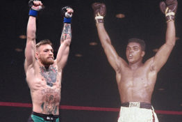 Edited image of Conor McGregor And Muhammad Ali both celebrating arms aloft