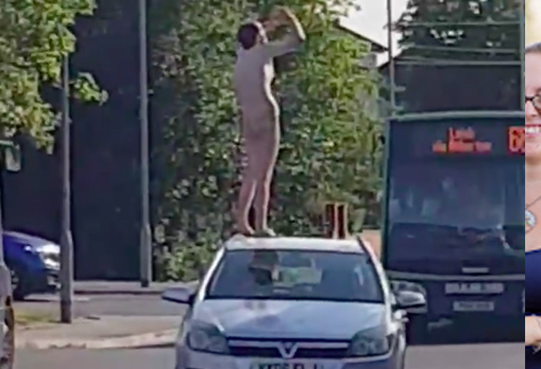 Naked man jumping on car in Greater Manchester