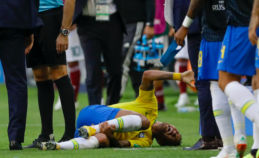Neymar on the floor