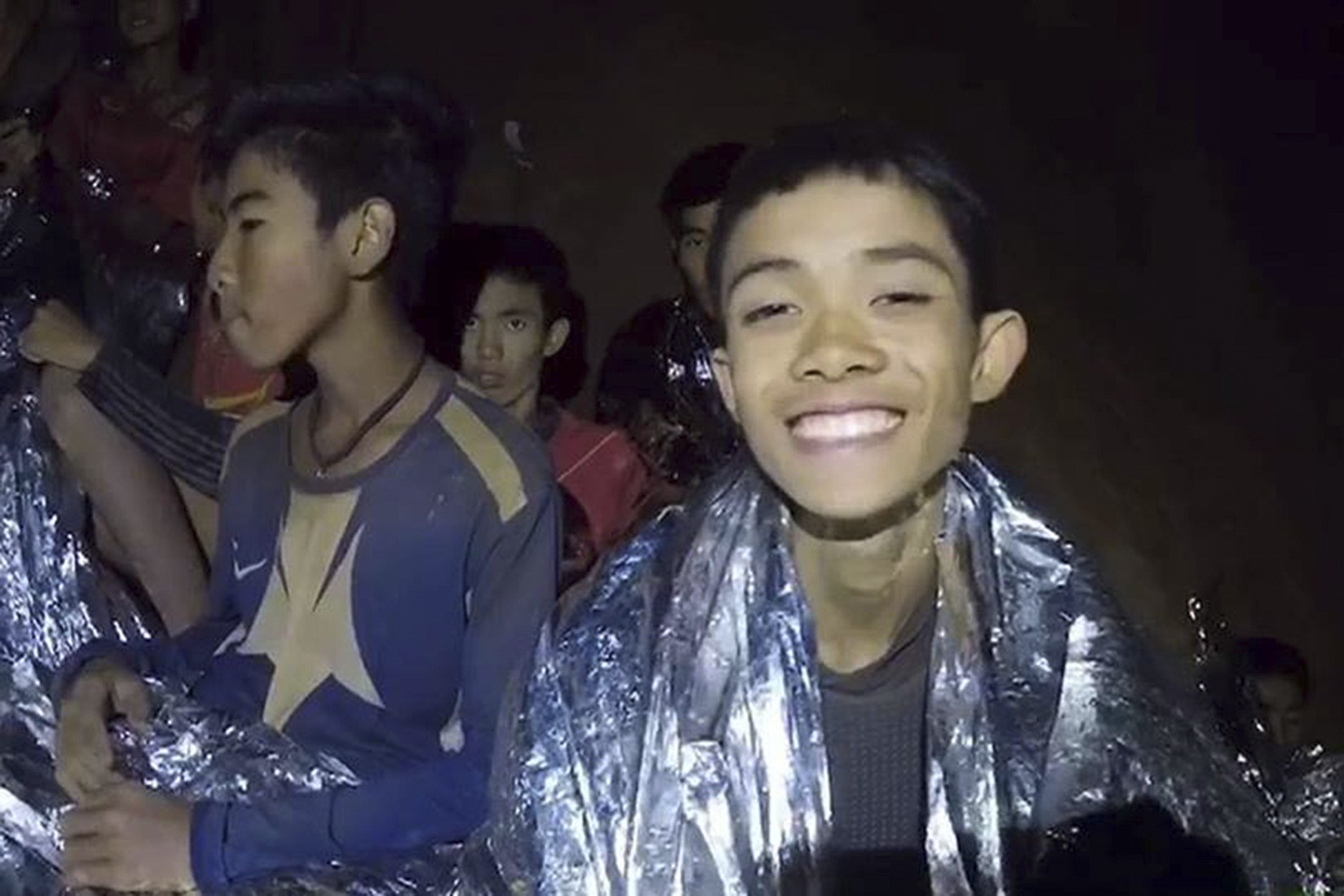 Trapped young footballers are seen in the cave in Chiang Rai, Thailand, July 4, 2018.
