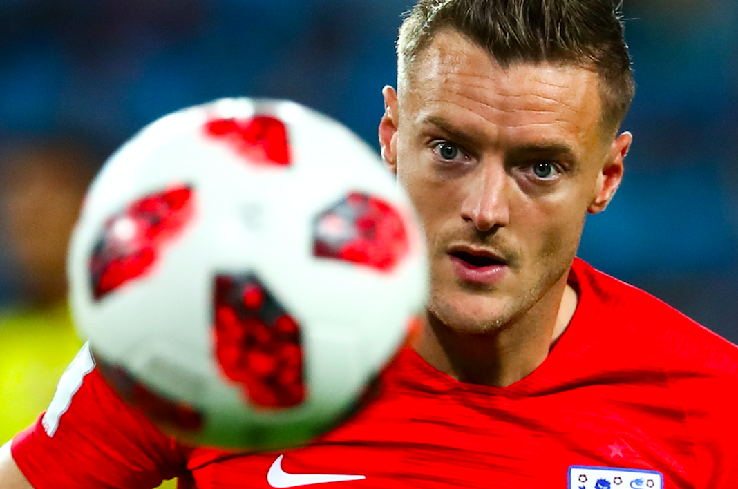 Jamie Vardy playing against Colombia