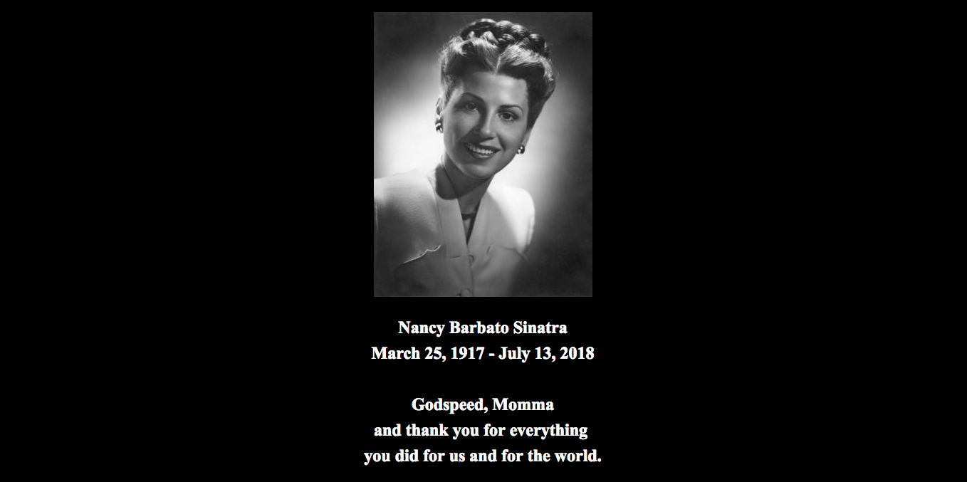 Nancy Sinatra, Former Wife Of Frank Sinatra, Has Died Age 101 Screen Shot 2018 07 14 at 07.56.18 1