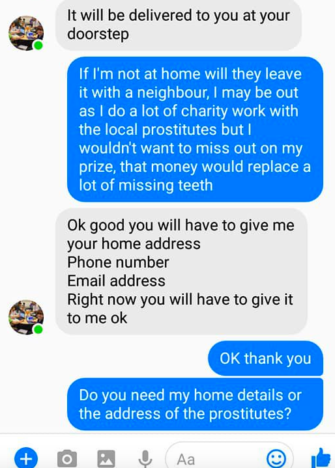 Facebooker pranks scammer