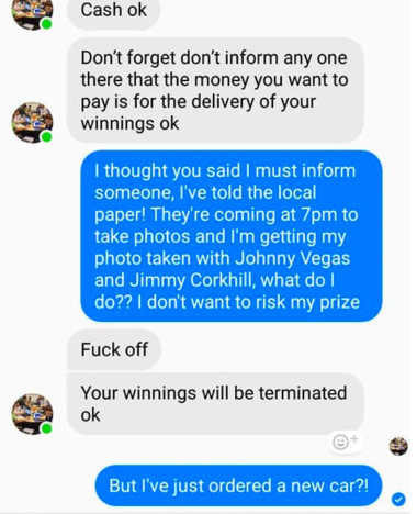 Man takes on Facebook scammer