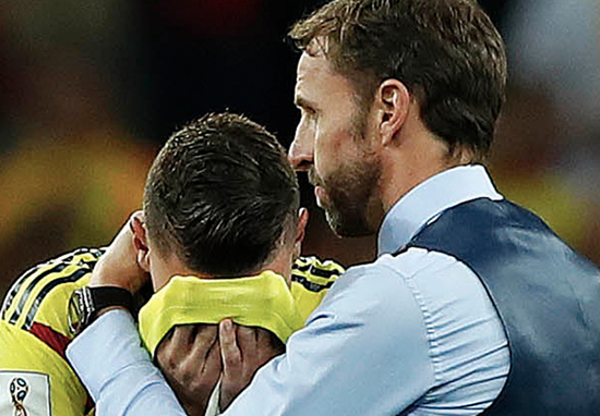 Southgate comforts Colombia player