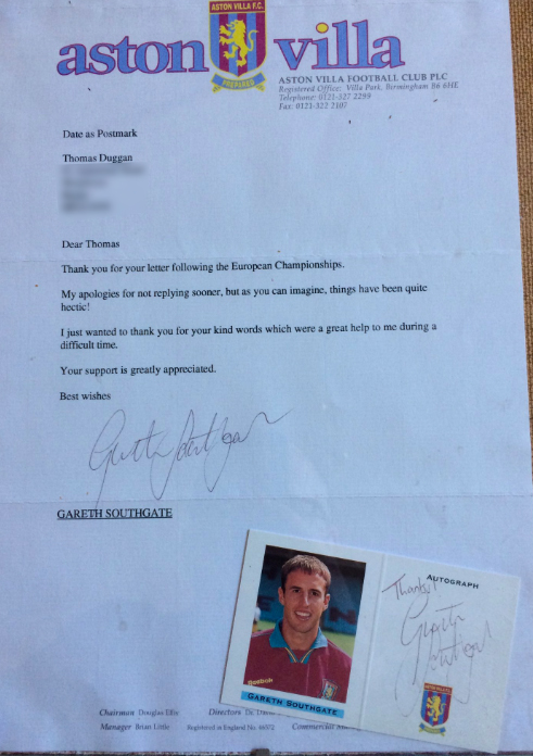 Gareth Southgates Letter To Fan After Penalty Miss In 96 Proves What A Gent He Is TOM DUGGAN LETTER 1