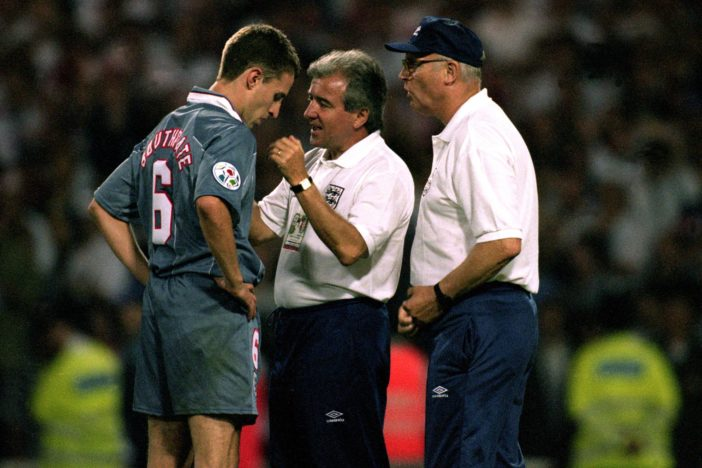 England Manager Terry Venables and Don Howe console Gareth Southgate at Euro '96
