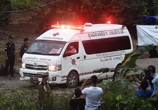 Ambulance leaving Tham Luang cave area