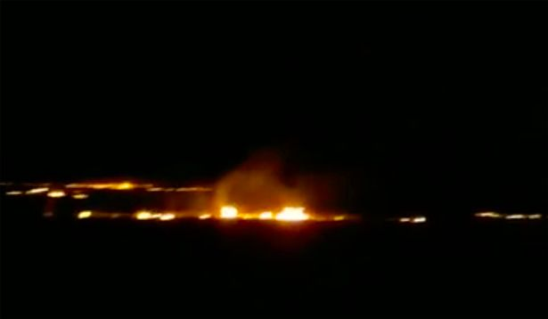 UFO crash causes fire