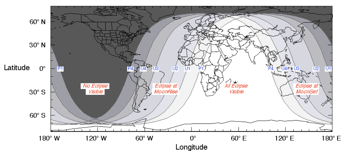 Lunar eclipse visibility map