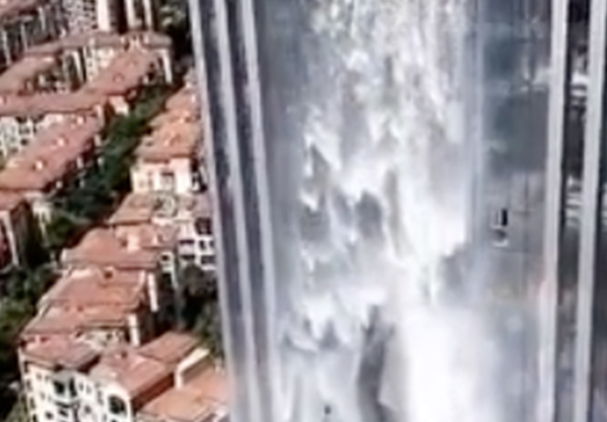 China Builds Incredible 350ft Artificial Waterfall On A Skyscraper Waterfall A