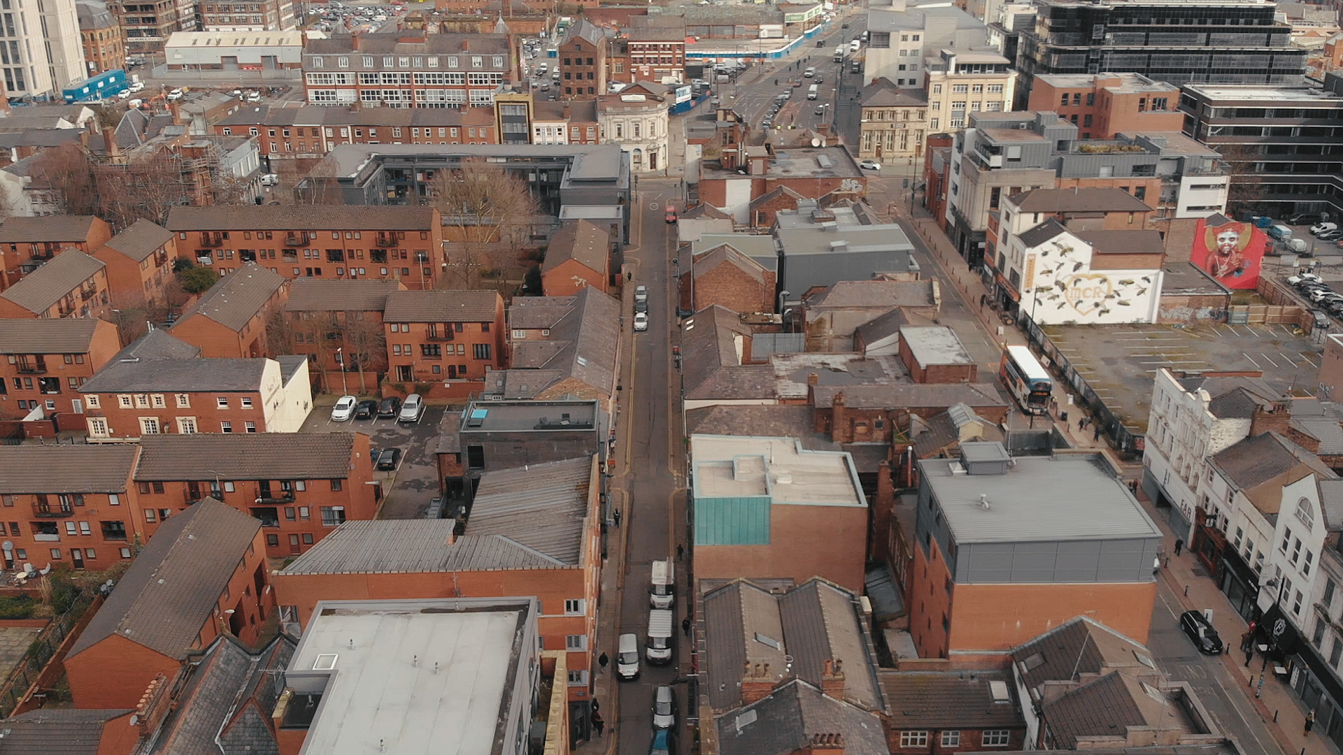 An aerial view of Manchester city in the spice epidemic