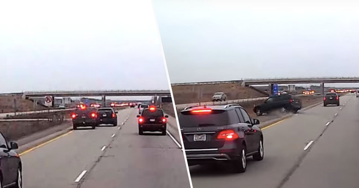 Tailgater Gets Brake Checked, Receives Instant Karma And Crashes Off Road brakecheck1