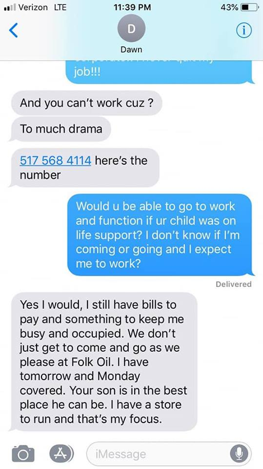 manager's texts to employee with son on life support