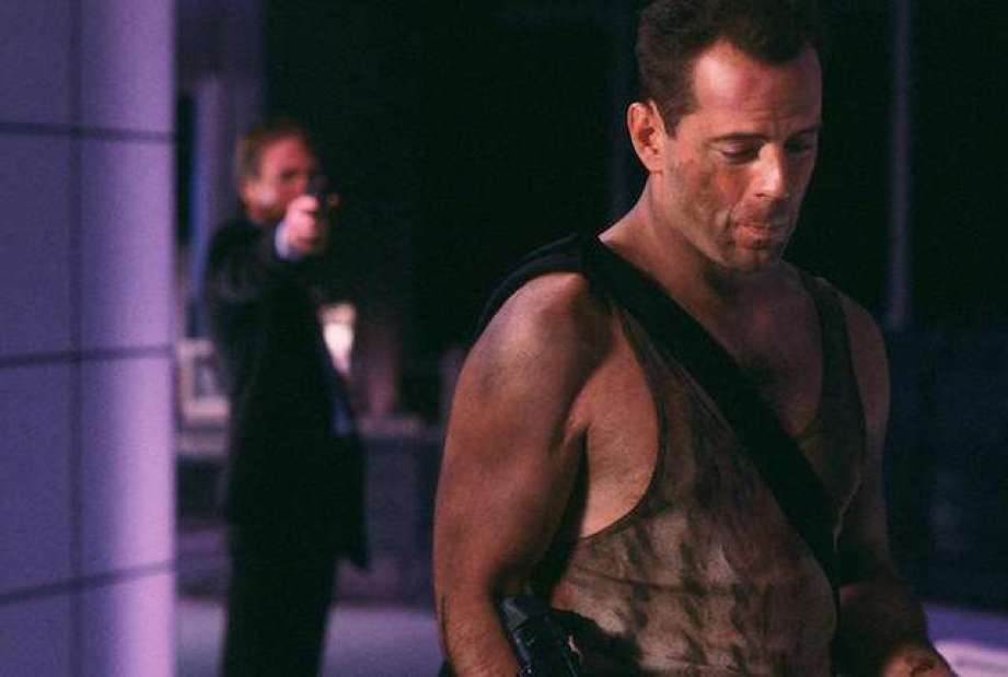 Alan Rickman and Bruce Willis in DIe Hard