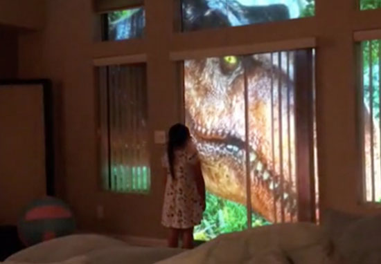 Dad uses projectors to make Jurassic Park