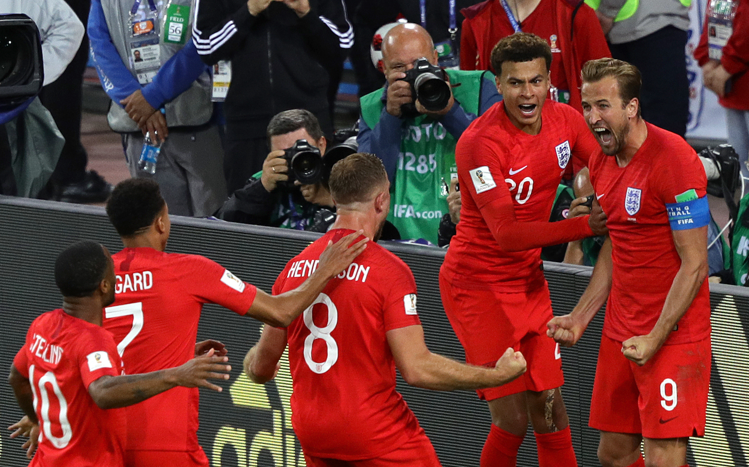 Harry Kane and England team celebrate