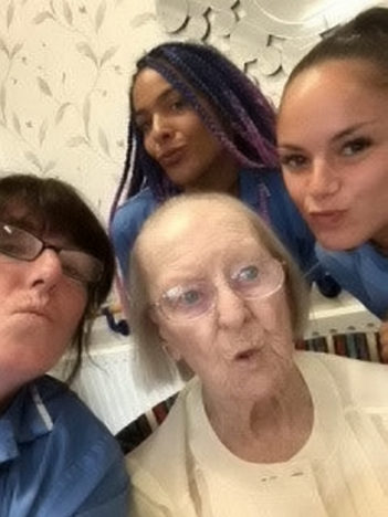 100-year-old Eileen takes first selfie.