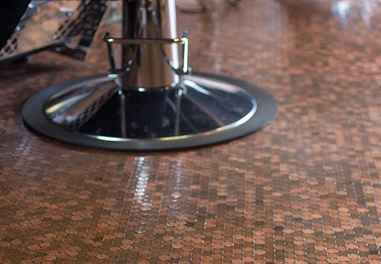 Barber Makes Shop Floor Entirely From 70,000 Pennies And It Looks Incredible pennies