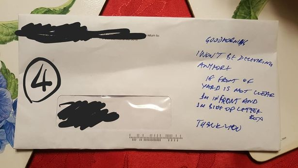Man Horrified By Threatening Note Left By Postman postman5
