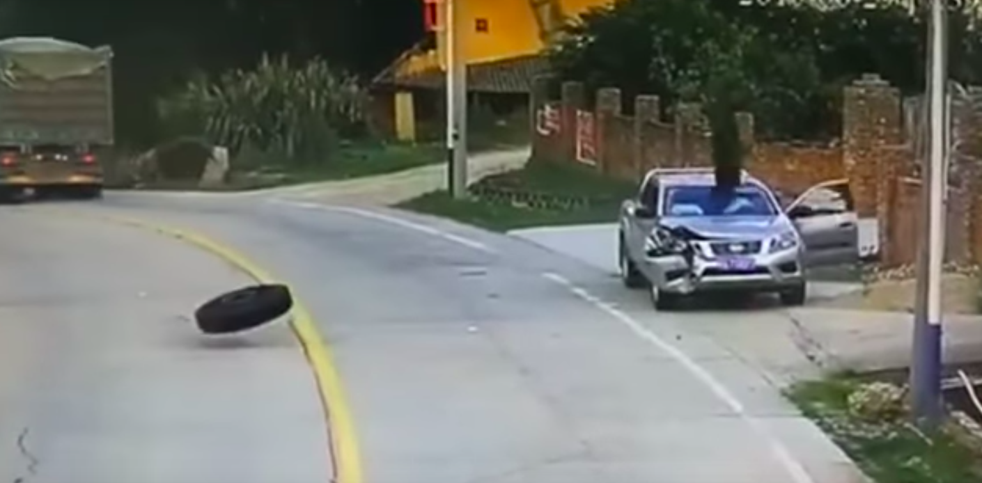 car demolished by two tyres