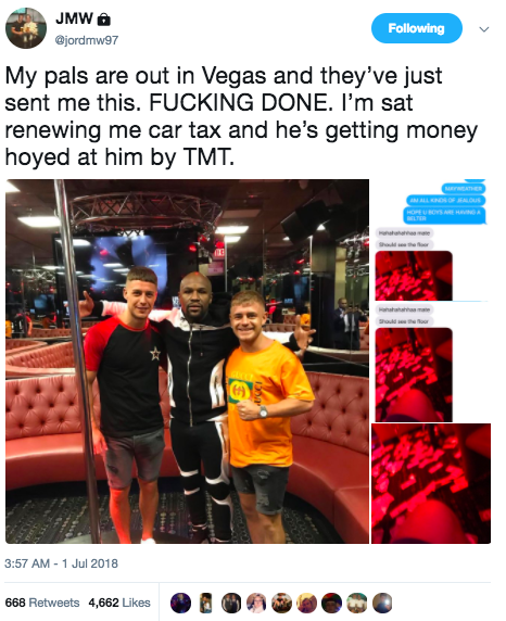 Tweet about Floyd Mayweather in Vegas