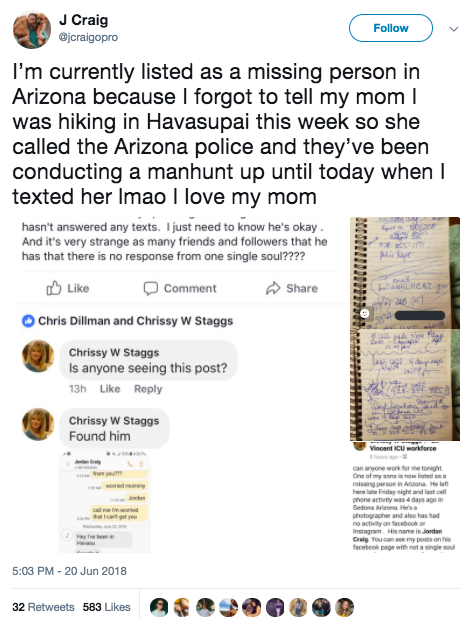 Guy Forgets To Tell His Mum Hes Hiking, She Starts Full On Police Search unnamed 66