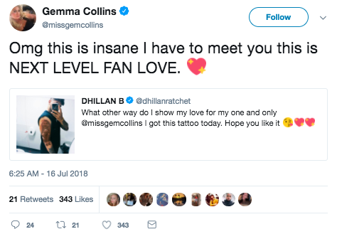 Tweet from Gemma Collins about the tattoo