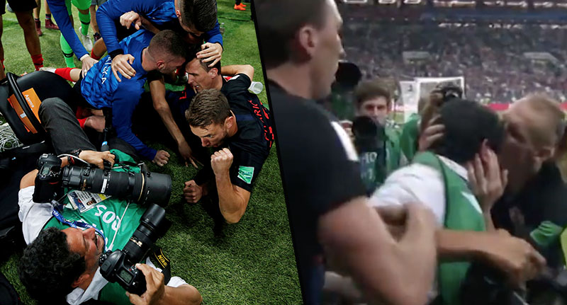 Cameraman Gets Floored During Croatia's Goal Celebrations And Still Does His Job