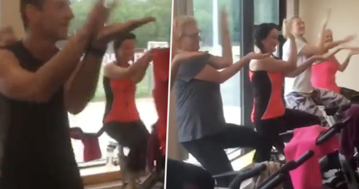Gym Instructor Makes Spin Class Do Baby Shark Workout
