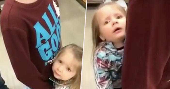 Little girl thinks mannequin is her brother.