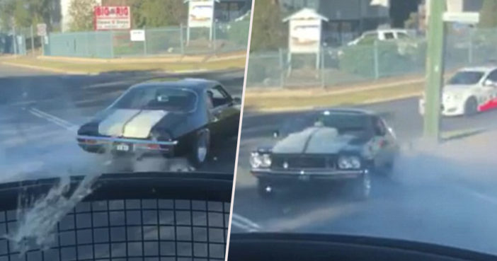 Man tries to do burnout, gets caught by pollice.