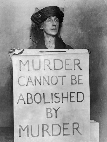 Death penalty protest sign
