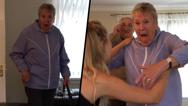 Grandparents surprised at grandaughter's return