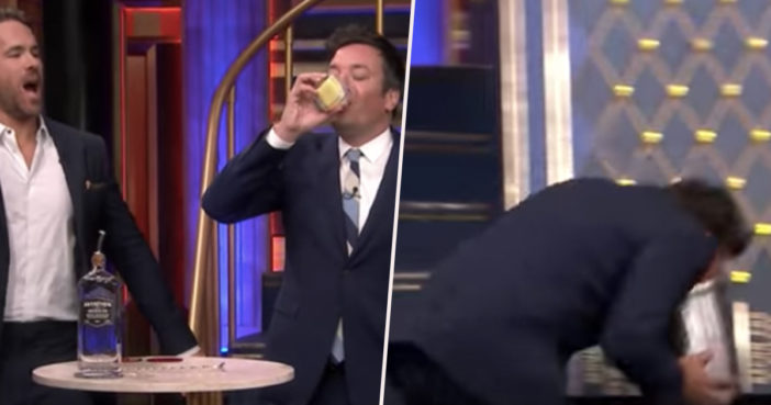 Jimmy Fallon throws up after playing Drinko.