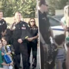 Police Squad Go To Kid's First Day At School After Dad Was Shot In Line Of Duty