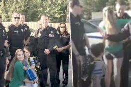 Police attend boy's first day at school.