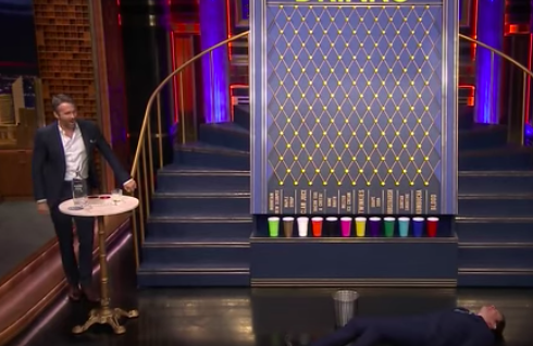 Jimmy Fallon and Ryan Reynolds play Drinko together.