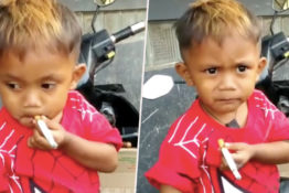 Two-year-old by is smoking 40 cigarettes a day.