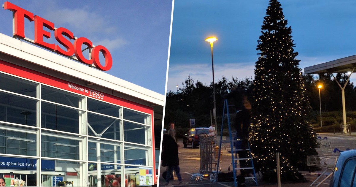 A Christmas Tree Has Already Been Put Up At Tesco